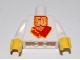 Part No: 973pb0134c01  Name: Torso Lego 50 Year Anniversary Logo Pattern / White Arms / Yellow Hands