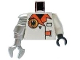 Part No: 973pb0489c02  Name: Torso Agents Villain Jacket with Orange Lapels and Buckle Pattern / White Arm and Black Hand Left / Met Silver Mech Arm and Claw Right