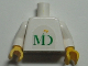 Part No: 973pb0496c01  Name: Torso MD Foods Logo Pattern on Both Sides (Sticker) / White Arms / Yellow Hands