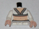 Part No: 973pb0595c01  Name: Torso Indiana Jones V-Neck with Silver Trim and Bare Midriff Pattern / White Arms / Light Flesh Hands