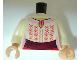Part No: 973pb0602c01  Name: Torso Indiana Jones Female Blouse with Red and Pink Embroidery Pattern / White Arms / Light Flesh Hands