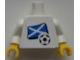 Part No: 973pb0777c01  Name: Torso Soccer White/Blue Team, Scottish Flag Sticker Front, Black Number Sticker Back (specify number in listing) / White Arms / Yellow Hands