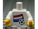 Part No: 973pb0815c01  Name: Torso Soccer White/Blue Team, Dutch Flag Sticker Front, Black Number Sticker Back (specify number in listing) / White Arms / Yellow Hands
