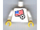 Part No: 973pb0818c01  Name: Torso Soccer White/Blue Team, American Flag Sticker Front, Black Number Sticker Back (specify number in listing) / White Arms / Yellow Hands