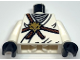 Part No: 973pb0828c01  Name: Torso Ninjago Brown Rope, Gold Lion Medallion and Gray Undershirt Pattern  / White Arms / Black Hands