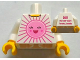 Part No: 973pb0957c01  Name: Torso Pink Sun Front, 2011 The LEGO Store Toronto, Canada Back Pattern / White Arms / Yellow Hands