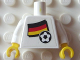 Part No: 973pb0993c01  Name: Torso Soccer White/Black Team, German Flag Sticker Front, Black Number Sticker Back (specify number in listing) / White Arms / Yellow Hands
