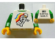 Part No: 973pb1124c01  Name: Torso Classic Space Minifig Floating Front, 2012 The LEGO Store Nashville, TN Back Pattern / Green Arms / Yellow Hands