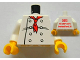 Part No: 973pb1165c01  Name: Torso Chef with 8 Buttons, Long Red Neckerchief Front, 2012 The LEGO Store Overland Park, KS Back Pattern / White Arms / Yellow Hands