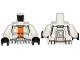 Part No: 973pb1343c01  Name: Torso SW Armor Republic Trooper with Orange Stripe Pattern / White Arms / Black Hands