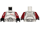 Part No: 973pb1530c01  Name: Torso SW Armor Clone Trooper Captain Black Belt and Four Dark Red Stars Pattern / Dark Red Arms / Black Hands