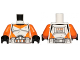 Part No: 973pb1592c01  Name: Torso SW Armor Clone Trooper with Orange Markings and Dirt Stains Pattern / Orange Arms / Black Hands