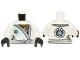 Part No: 973pb1595c01  Name: Torso Ninjago Robe with Silver Sash and Ice Power Emblem Pattern / White Arms / Black Hands