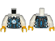 Part No: 973pb1726c01  Name: Torso Body Armor with Dark Azure Ultra Agents Logo on Silver Pentagon over Shirt and Dark Blue Tie Pattern / White Arms / Yellow Hands