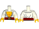 Part No: 973pb1780c01  Name: Torso Open Shirt with Frills, Red Waist Sash and Gold Helm Buckle Pattern / White Arms / Yellow Hands