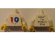 Part No: 973pb1790c01  Name: Torso LEGO Fan Weekend 2014 Pattern / White Arms / Yellow Hands