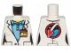 Part No: 973pb2019  Name: Torso Female Lab Coat over Medium Blue Shirt, ID Badge on Front, Space Shuttle Logo on Back Pattern