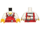 Part No: 973pb2601c01  Name: Torso Overalls Red over Prison Stripes Shirt, Dark Red Belt, Dirt Stains and Paint Brush on Back Pattern / White Arms / Yellow Hands