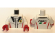 Part No: 973pb2904c01  Name: Torso Race Suit with Ferrari Logo and 'FXXK' on Back Pattern / White Arms / Red Hands