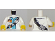 Part No: 973pb2921c01  Name: Torso Town Scientist Female with White Shirt Over Medium Blue Shirt, Name Tag, Beakers, and Radio Pattern / White Arms / Yellow Hands