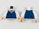 Part No: 973pb2956c01  Name: Torso Shirt with Dark Blue Vest, Claw Necklace on Light Flesh Neck Pattern / White Arms / Light Flesh Hands
