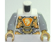 Part No: 973pb3047c01  Name: Torso Nexo Knights Armor, Metallic Gold Panels, Orange Emblem, Yellow Horse Head Pattern / Light Bluish Gray Arms / Pearl Gold Hands