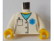 Part No: 973pb3140c01  Name: Torso Hospital Lab Coat, Medium Azure Scrubs, Blue EMT Star of Life, Pocket with Pen Pattern / White Arms / Yellow Hands