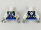 Part No: 973pb3325c01  Name: Torso Ninjago Robe with Asian Characters, Blue Sash Pattern / White Arms with Dark Blue Cuff, Silver Trim Pattern / Light Bluish Gray Hands