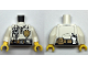 Part No: 973pb3394c01  Name: Torso Fire Chief Female, Fire Logo Badge and Belt with Radio Pattern / White Arms / Yellow Hands