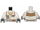 Part No: 973pb3494c01  Name: Torso SW Hoth Rebel Vest with ID Badge, Utility Belt, Large Buckle and Tan Scarf Pattern / White Arms / Dark Bluish Gray Hands