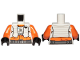 Part No: 973pb3496c01  Name: Torso SW Pilot, Orange Jumpsuit with White Vest and Front Panel, Black Rebel Logo Pattern / Orange Arms / Black Hands