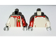 Part No: 973pb3586c01  Name: Torso Speed Champions with Red Stripes and Ferrari Logo Pattern / Red Arm Left / White Arm Right / Light Bluish Gray Hands