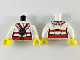 Part No: 973pb3606c01  Name: Torso Ninjago Robe with Black and Red Trim with Black Emblem and Wolf Pattern / White Arms / Yellow Hands