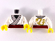 Part No: 973pb3607c01  Name: Torso Ninjago Kimono with Gray Trim, Dark Red Sash and Gold Dragon on Back Pattern / White Arms / Yellow Hands