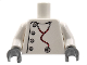 Part No: 973px166c02  Name: Torso Studios Lab Coat, Gray Buttons, Stethoscope Pattern (Mad Scientist) / White Arms / Dark Bluish Gray Hands