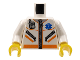 Part No: 973px500c01  Name: Torso Hospital EMT Star of Life, Zipper, Zippered Pockets, Radio Pattern / White Arms / Yellow Hands