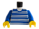 Part No: 973px61c01  Name: Torso Horizontal Blue Stripes Pattern / Blue Arms / Yellow Hands