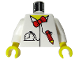 Part No: 973px91c01  Name: Torso Time Cruisers Red Bow Tie, Pencil and Pocket Watch Pattern / White Arms / Yellow Hands