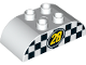 Part No: 98223pb010  Name: Duplo, Brick 2 x 4 Curved Top with Yellow '28' with Black and White Checkered Pattern