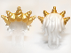 Part No: 99245pb01  Name: Minifig, Hair Ocean King with Gold Spiked Tiara Pattern