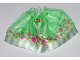 Part No: belvskirt30  Name: Belville, Clothes Skirt Long, Satin with Light Green Stripes and Roses Pattern and Sheer Medium Green Layer (5834)