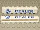 Part No: crssprt01pb13  Name: Brick 1 x 8 without Bottom Tubes with Cross Side Supports with Blue 'VW DEALER' Pattern
