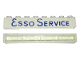 Part No: crssprt01pb14  Name: Brick 1 x 8 without Bottom Tubes with Cross Side Supports with Blue 'ESSO SERVICE' Long Pattern