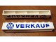 Part No: crssprt01pb17  Name: Brick 1 x 8 without Bottom Tubes with Cross Side Supports with Blue 'VW VERKAUF' Pattern