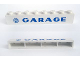 Part No: crssprt01pb20  Name: Brick 1 x 8 without Bottom Tubes with Cross Side Supports with Blue 'VW GARAGE' Sans-Serif Thick Pattern, Plain 'G'