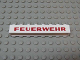 Part No: crssprt01pb42  Name: Brick 1 x 8 without Bottom Tubes with Cross Side Supports with Red 'FEUERWEHR' Pattern