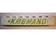Part No: crssprt01pb60  Name: Brick 1 x 8 without Bottom Tubes with Cross Side Supports with Green 'KOBMAND' and 2 Arrows Pattern (KØBMAND)