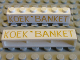 Part No: crssprt02pb28  Name: Brick 1 x 6 without Bottom Tubes with Cross Side Supports with Gold 'KOEK ' BANKET' Pattern