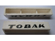 Part No: crssprt02pb51  Name: Brick 1 x 6 without Bottom Tubes with Cross Side Supports with Black 'TOBAK' Italic Bold Pattern