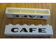 Part No: crssprt02pb83  Name: Brick 1 x 6 without Bottom Tubes with Cross Side Supports with Black 'CAFE' Sans-Serif Thick Pattern